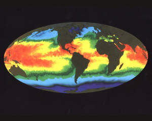 Global Sea Surface Temperature: maps like this help us understand how Earth is warming both generally and as part of events such as El Nino.